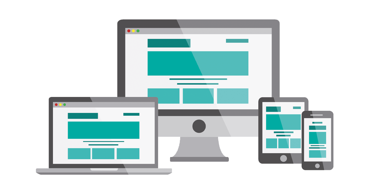 Webbplats i olika skärmstorlekar med responsiv design